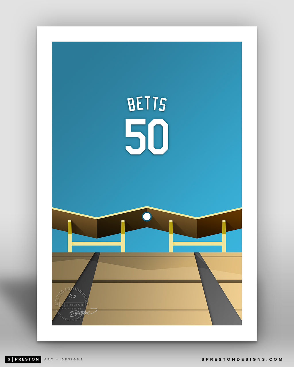 Minimalist Dodger Stadium - Player Series - Mookie Betts - Los Angeles Dodgers - S. Preston