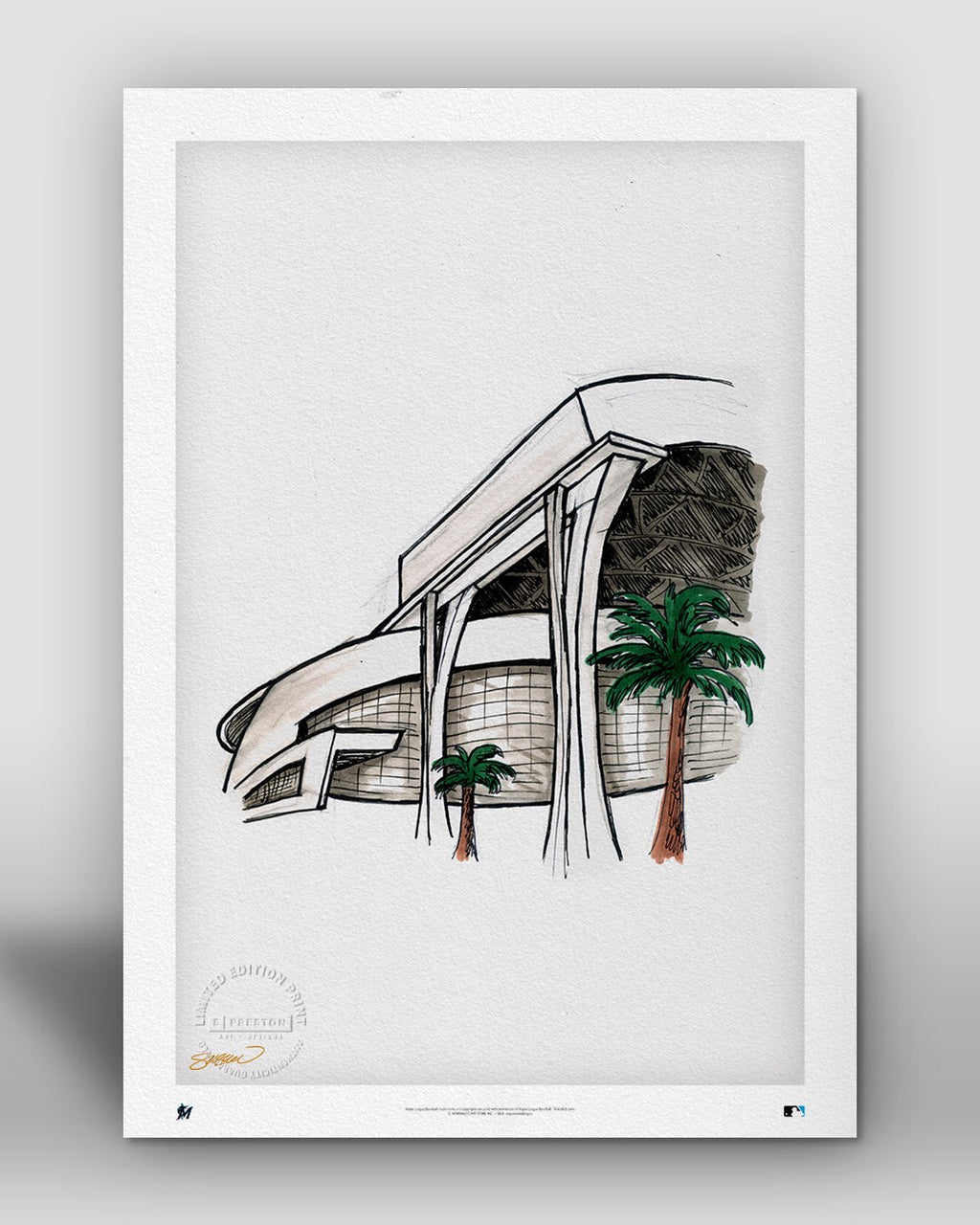 Marlins Park Ink Sketch - Miami Marlins - by S. Preston