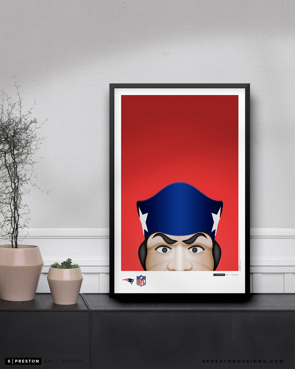 Minimalist Pat Patriot Poster Print New England Patriots - S Preston