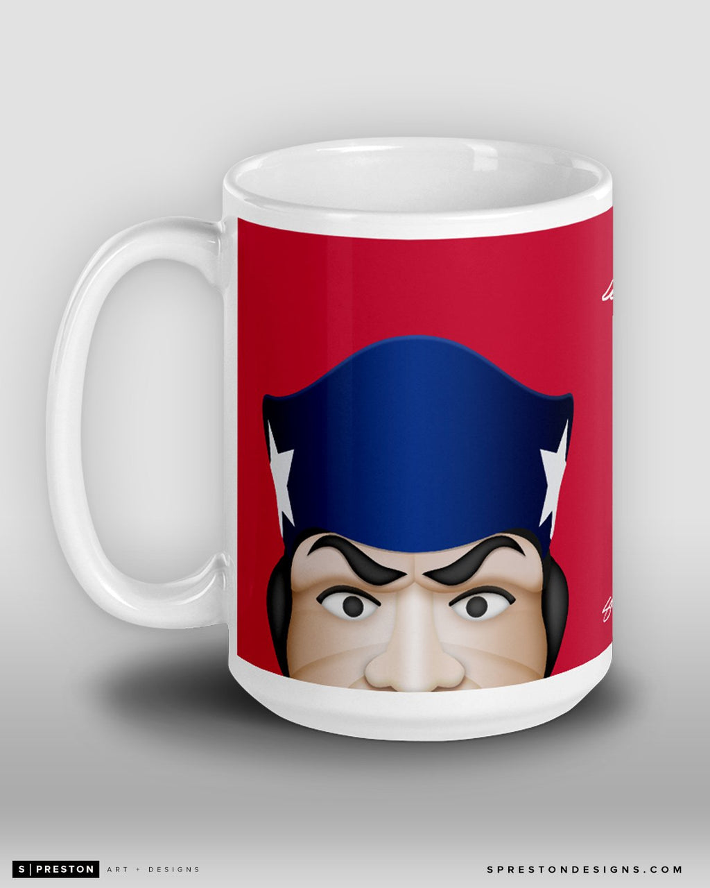 Minimalist Pat Patriot Coffee Mug New England Patriots Mascot  - S. Preston
