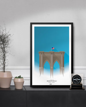 Minimalist Brooklyn Bridge Poster Print - New York City