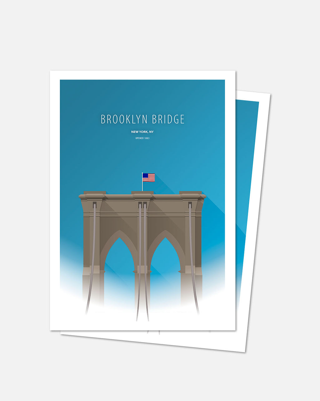 Minimalist Brooklyn Bridge Art Card - New York City