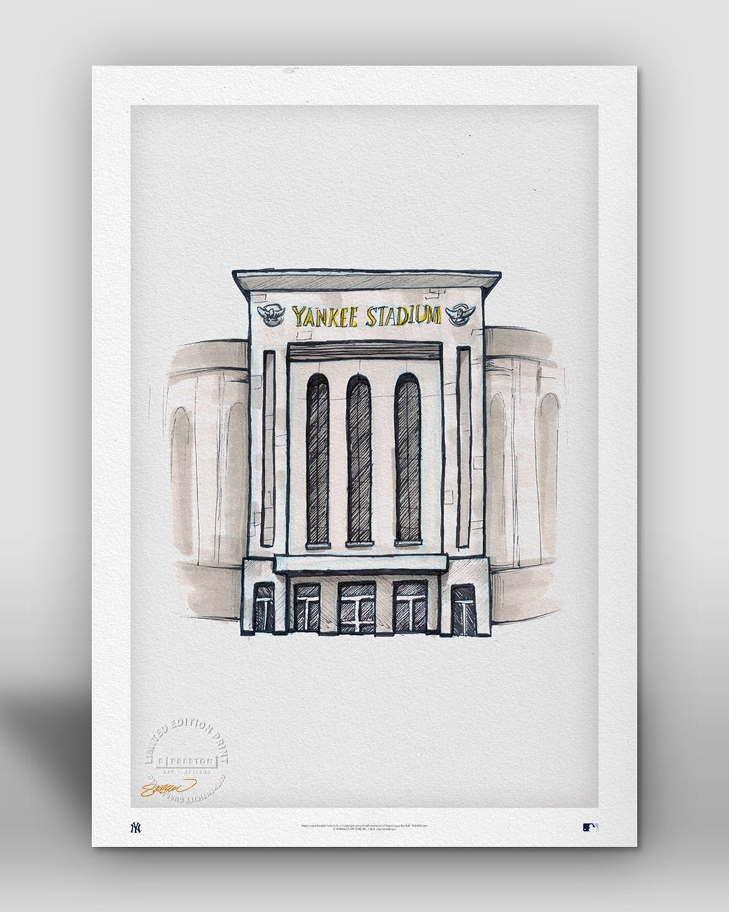 Yankee Stadium Ink Sketch - New York Yankees - by S. Preston