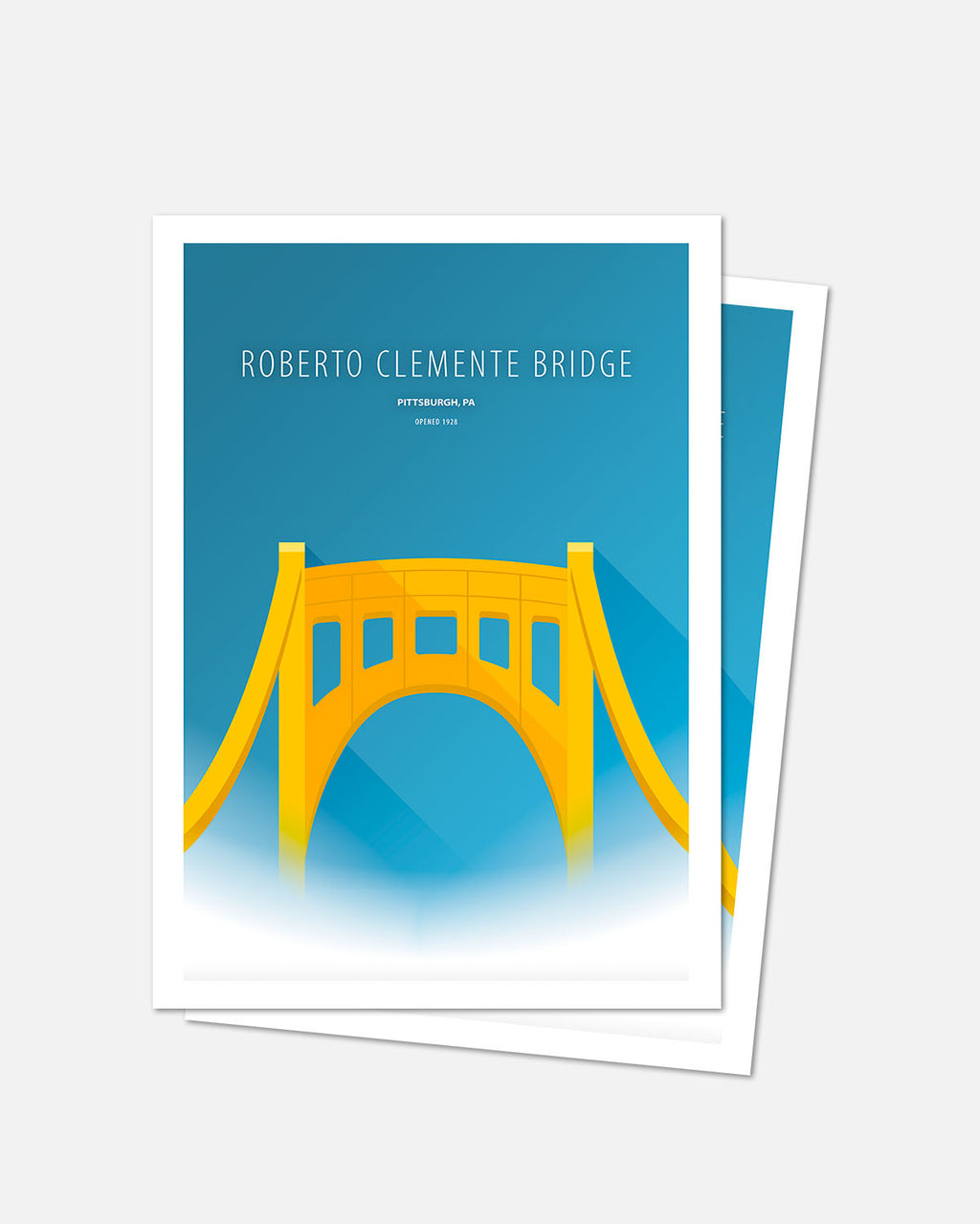 Minimalist Clemente Bridge Art Card - Pittsburgh
