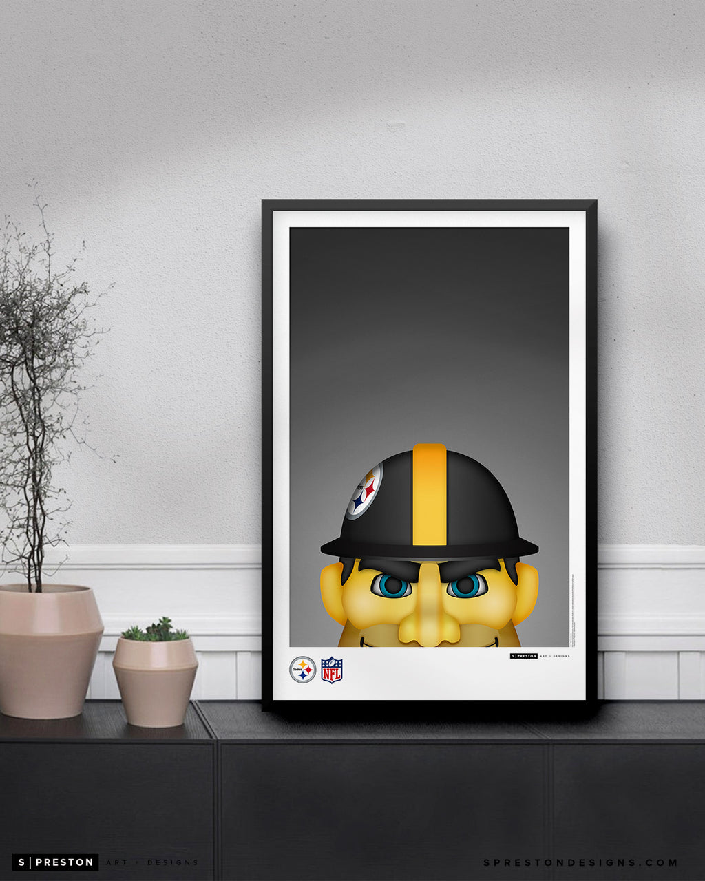 Minimalist Steely McBeam Poster Print Pittsburgh Steelers - S Preston