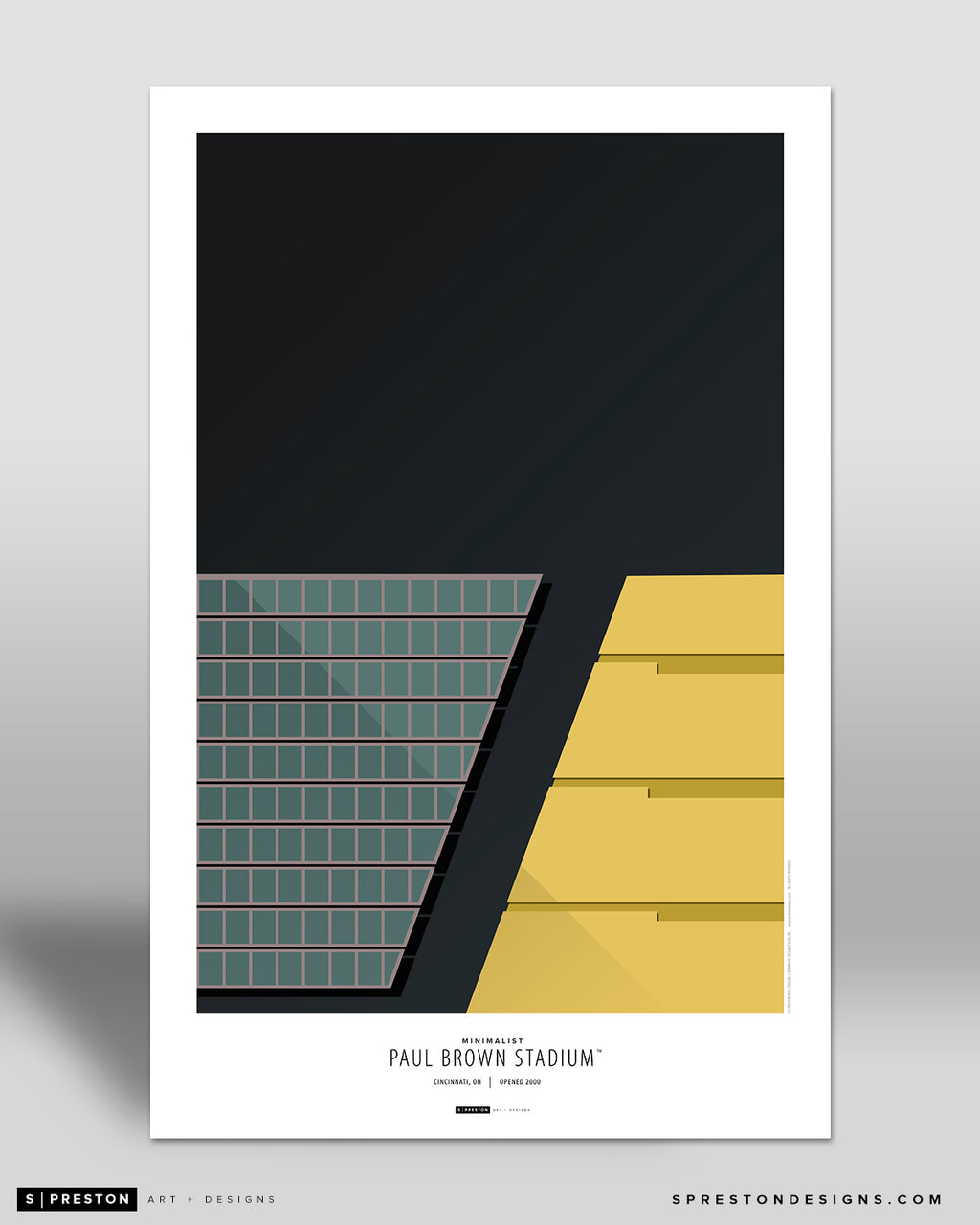 Minimalist Paul Brown Stadium Art Poster Art Poster - Cincinnati Bengals - S. Preston Art + Designs