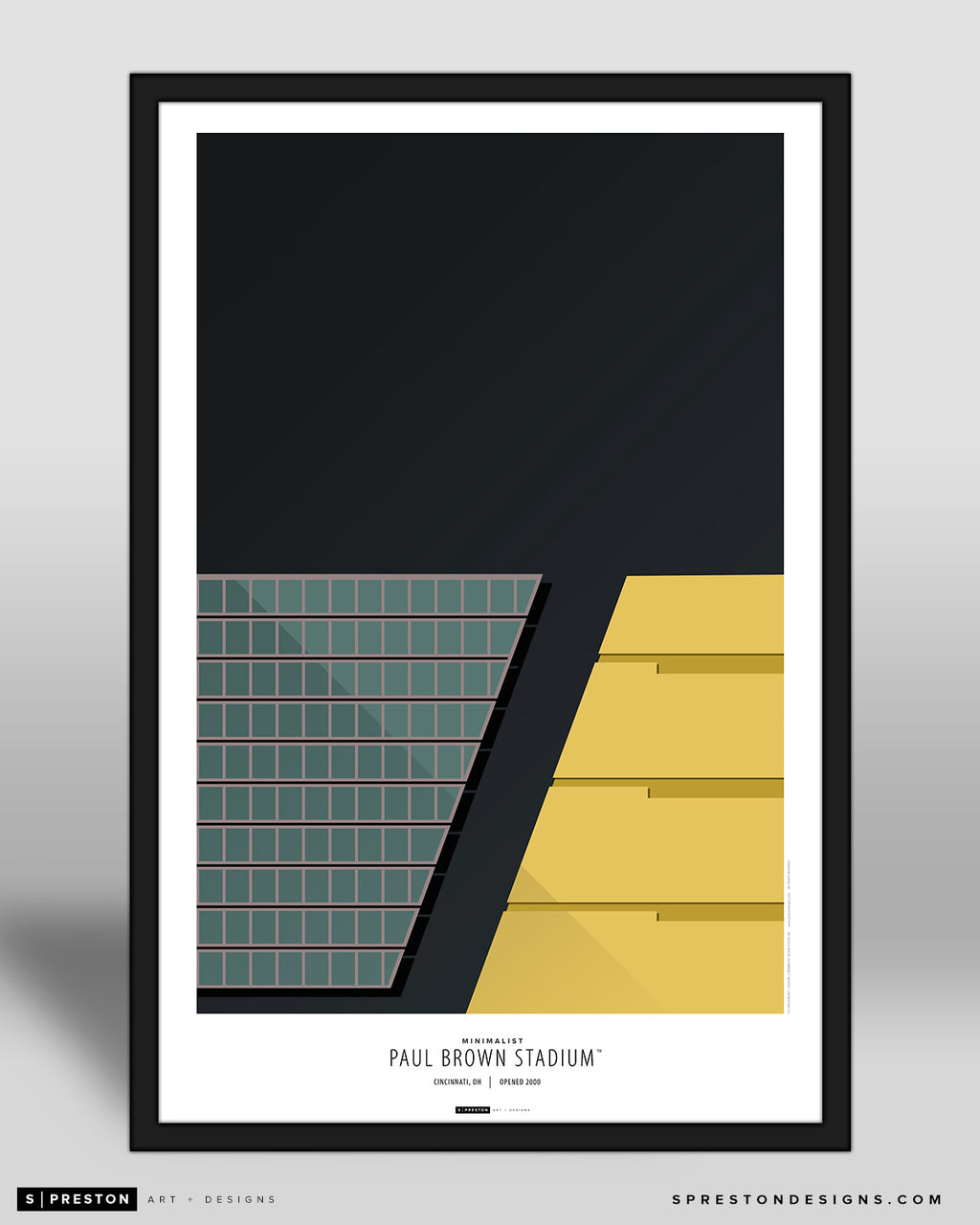 Minimalist Paul Brown Stadium Poster Print Cincinnati Bengals - S Preston
