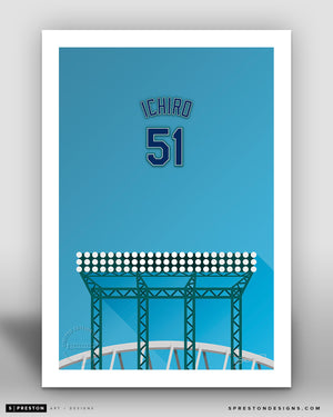 Minimalist T-Mobile Park - Player Series - Ichiro Suzuki - Seattle Mariners - S. Preston