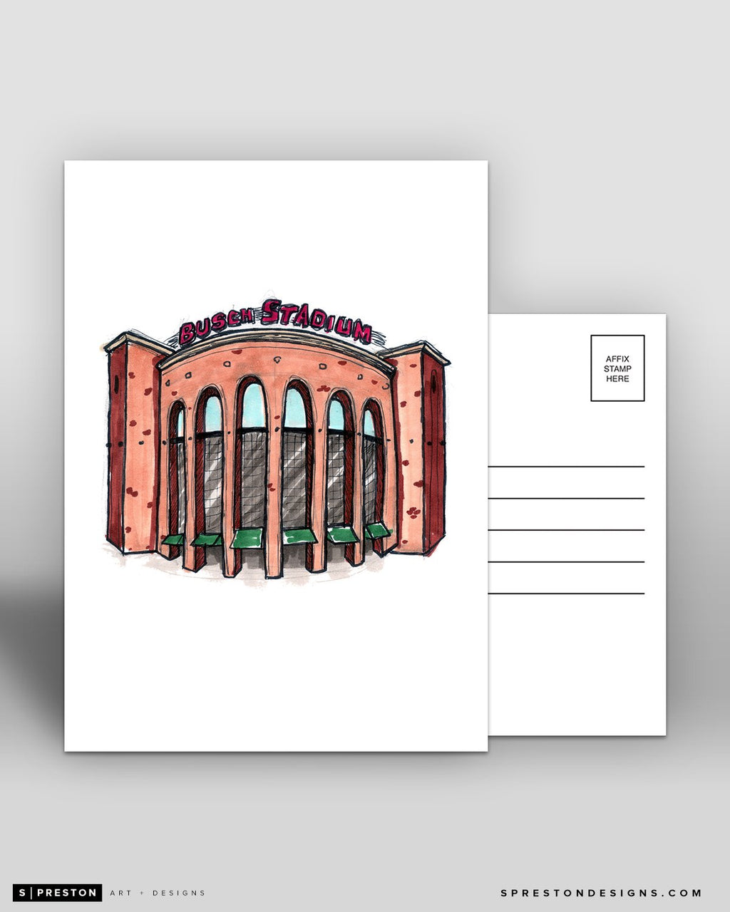 Busch Stadium Ink Sketch - St. Louis Cardinals - by S. Preston