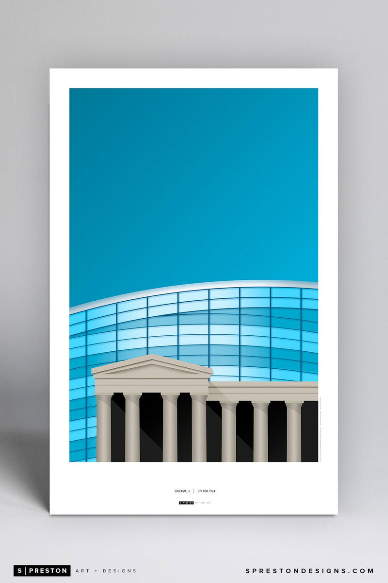 Minimalist Soldier Field Art Poster Art Poster - Chicago Bears - S. Preston Art + Designs