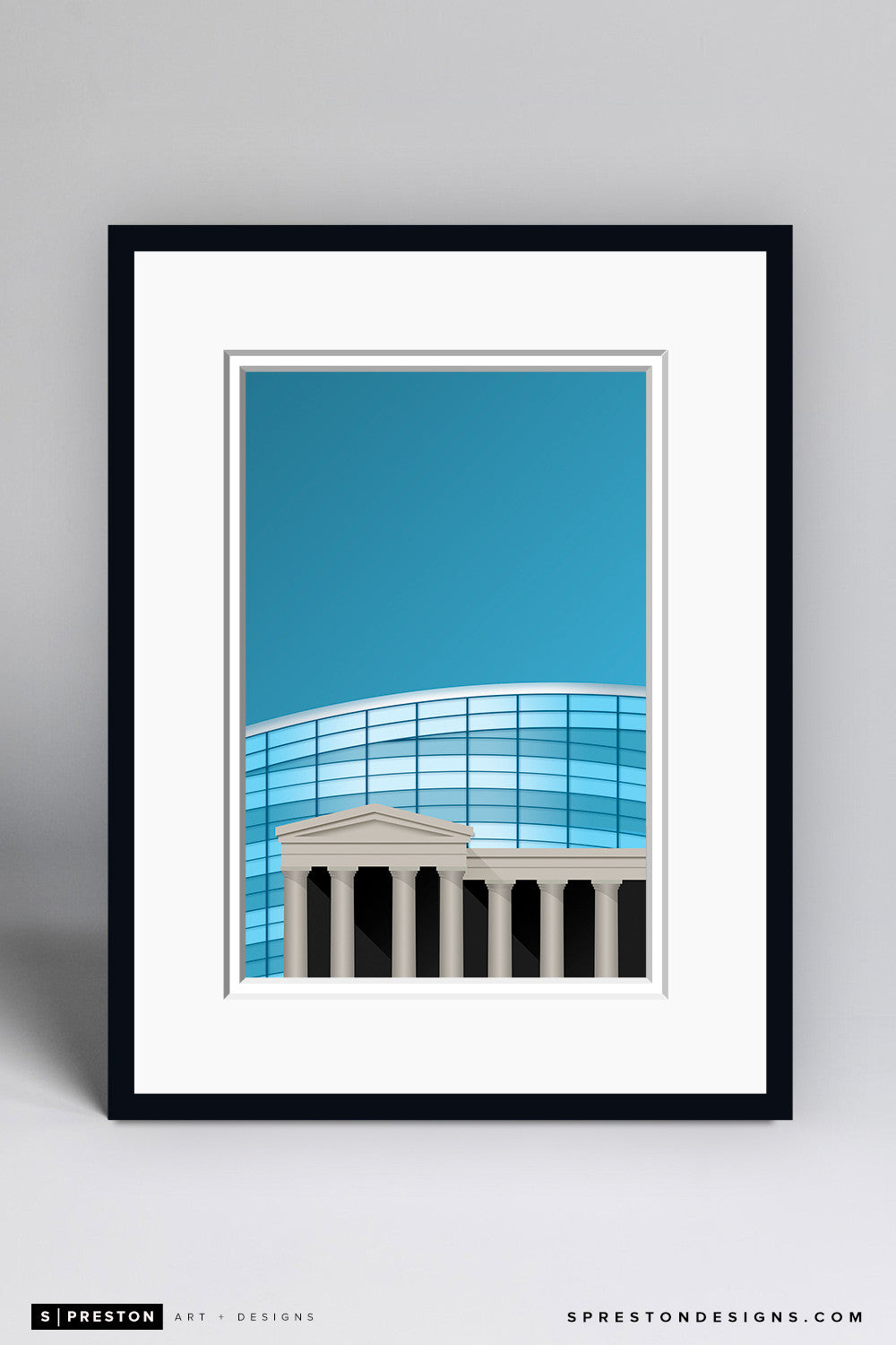 Minimalist Soldier Field Art Print - Chicago Bears - S. Preston Art + Designs