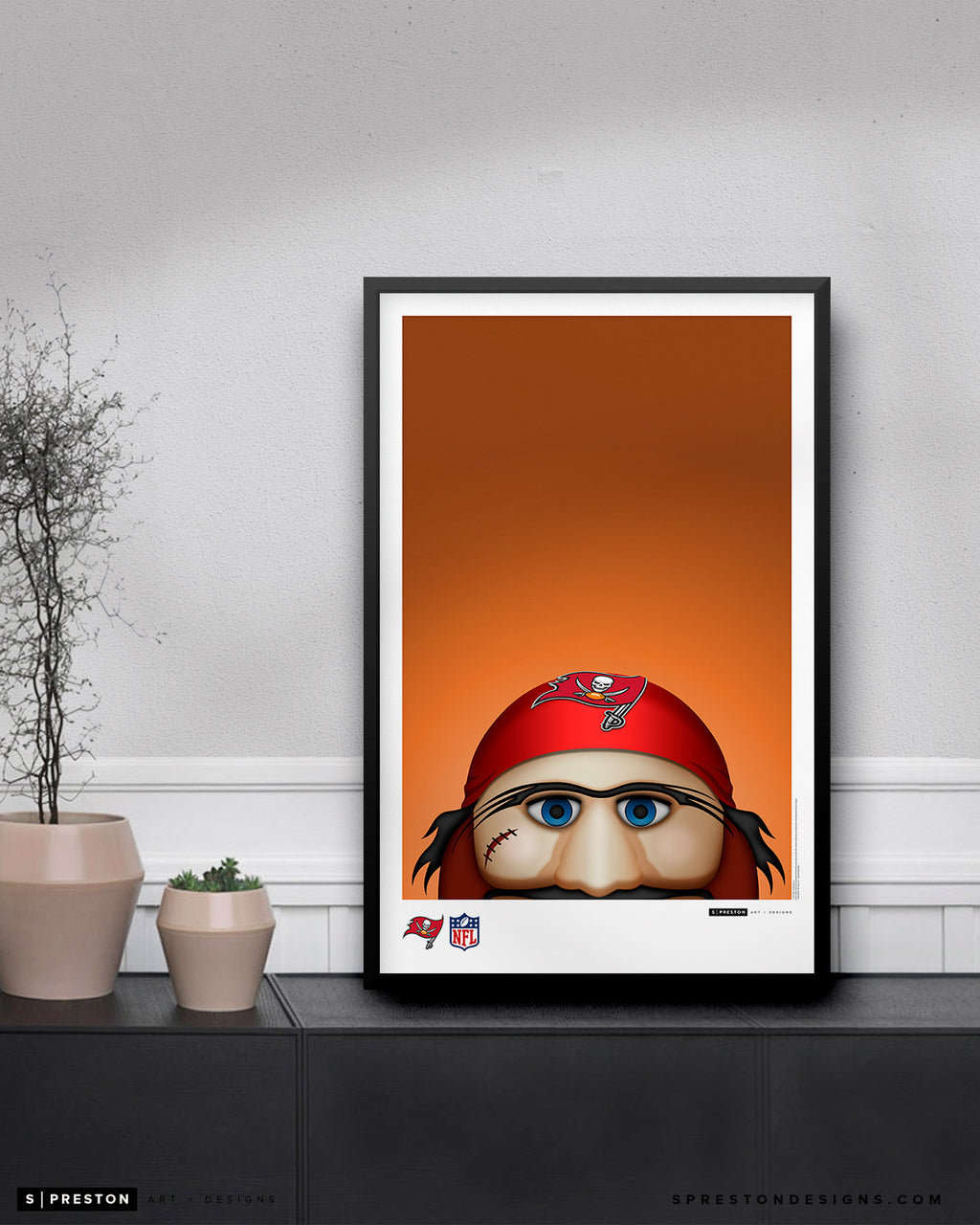 Minimalist Captain Fear Poster Print Tampa Bay Buccaneers - S Preston