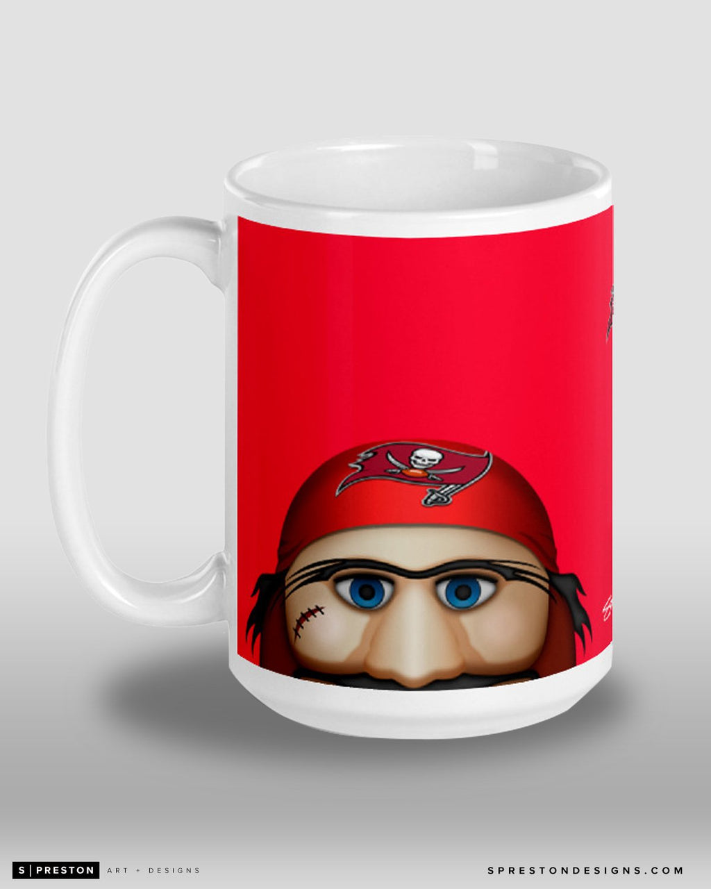 Minimalist Captain Fear Coffee Mug Tampa Bay Buccaneers Mascot  - S. Preston