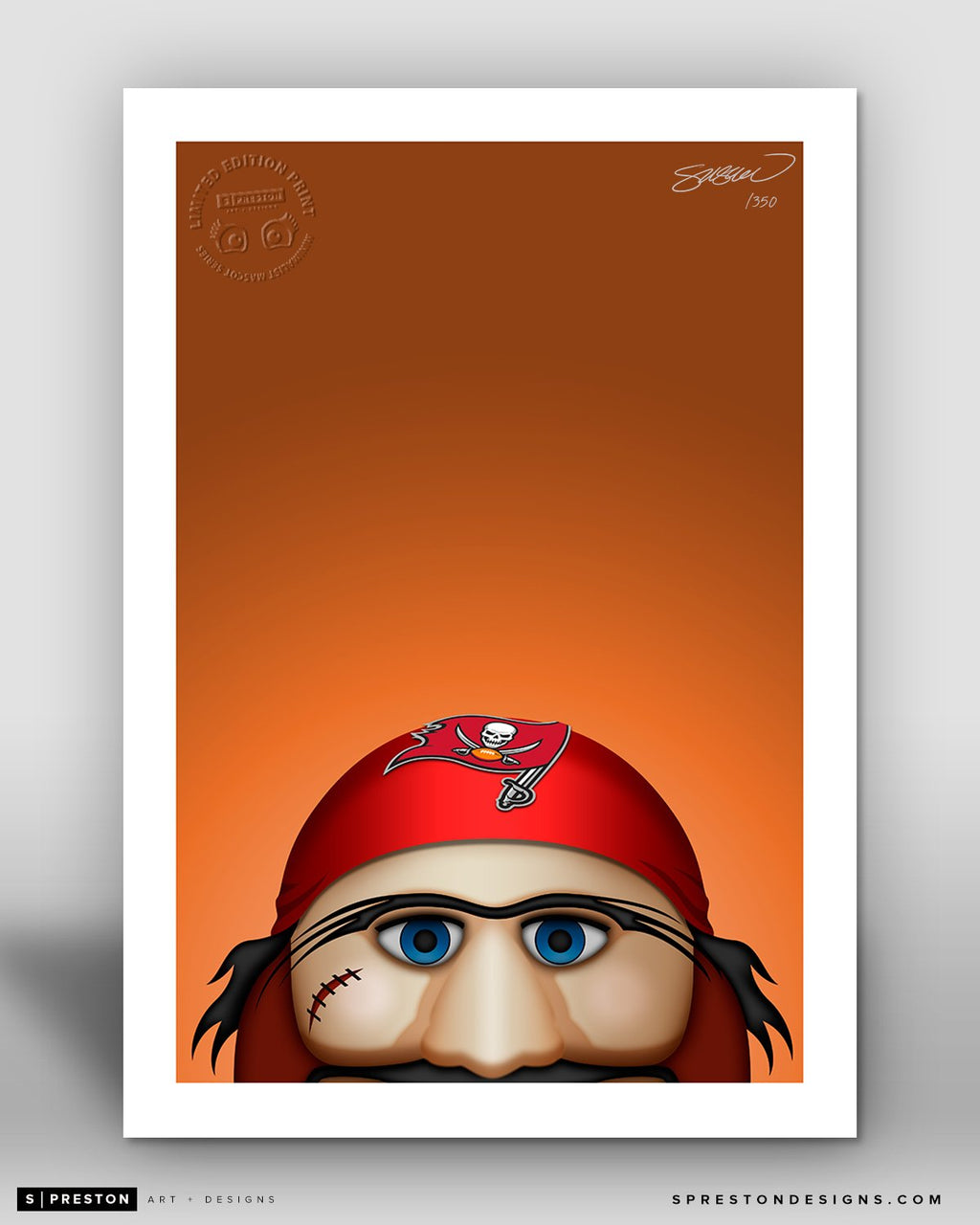 Minimalist Captain Fear Tampa Bay Buccaneers Mascot - S. Preston