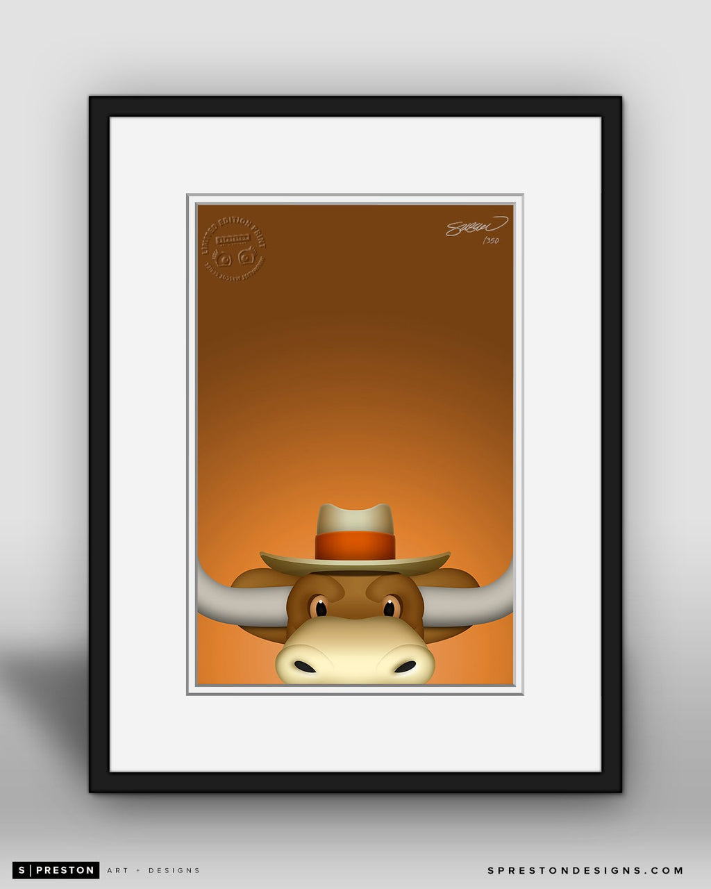 Minimalist Hook'em by S. Preston - official mascot of the Texas Longhorns
