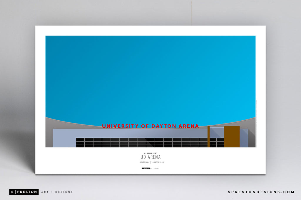 Minimalist UD Arena Poster Print - University of Dayton - S. Preston Art + Designs