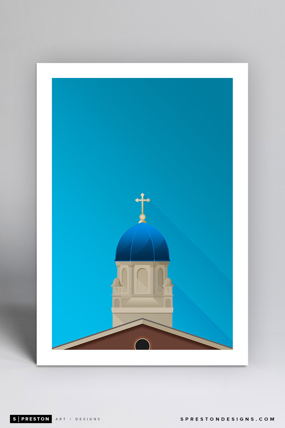 Minimalist University of Dayton - Chapel Art Print - University of Dayton - S. Preston Art + Designs