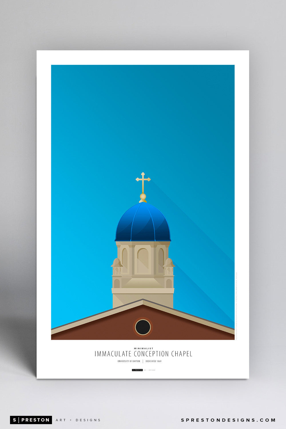 Minimalist Immaculate Conception Chapel Poster Print - University of Dayton - S. Preston Art + Designs