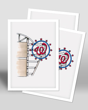 Nationals Park Ink Sketch - Washington Nationals - by S. Preston