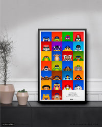Minimalist All MLB Mascots Poster Print Major League Baseball - S Preston