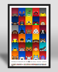 Minimalist All NHL Mascots Poster Print National Hockey League - S Preston