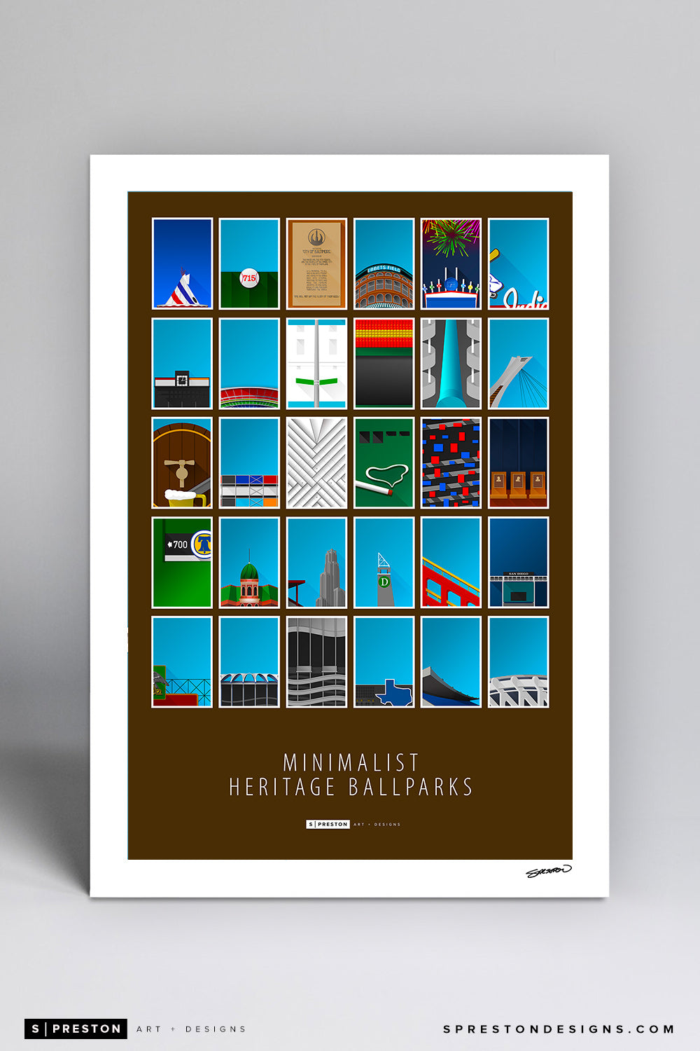 All Minimalist Heritage MLB Ballparks Art Print - Major League Baseball - S. Preston Art + Designs