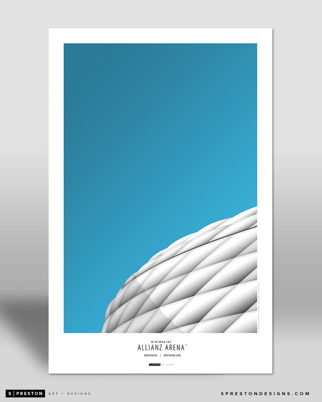 Minimalist Allianz Stadium Poster Print Bayern Munich - S Preston