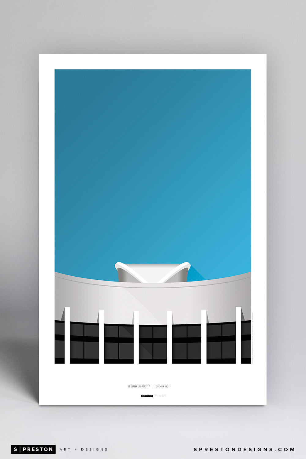 Minimalist Assembly Hall Poster Print - Indiana University - S. Preston Art + Designs