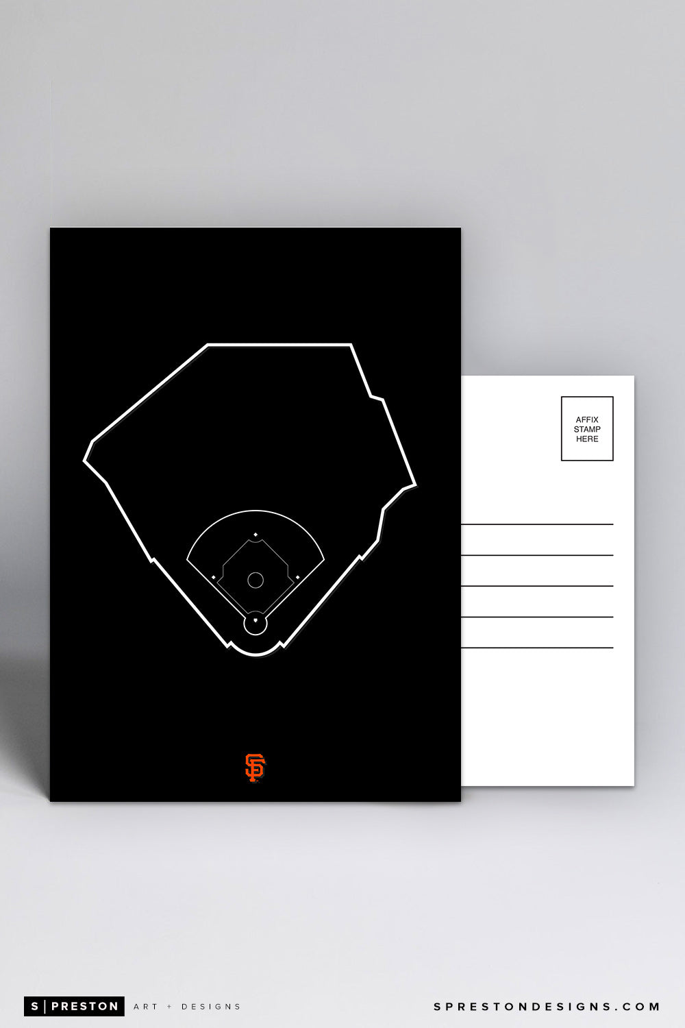 Oracle Park - Outline Ballparks Postcard San Francisco Giants - S. Preston