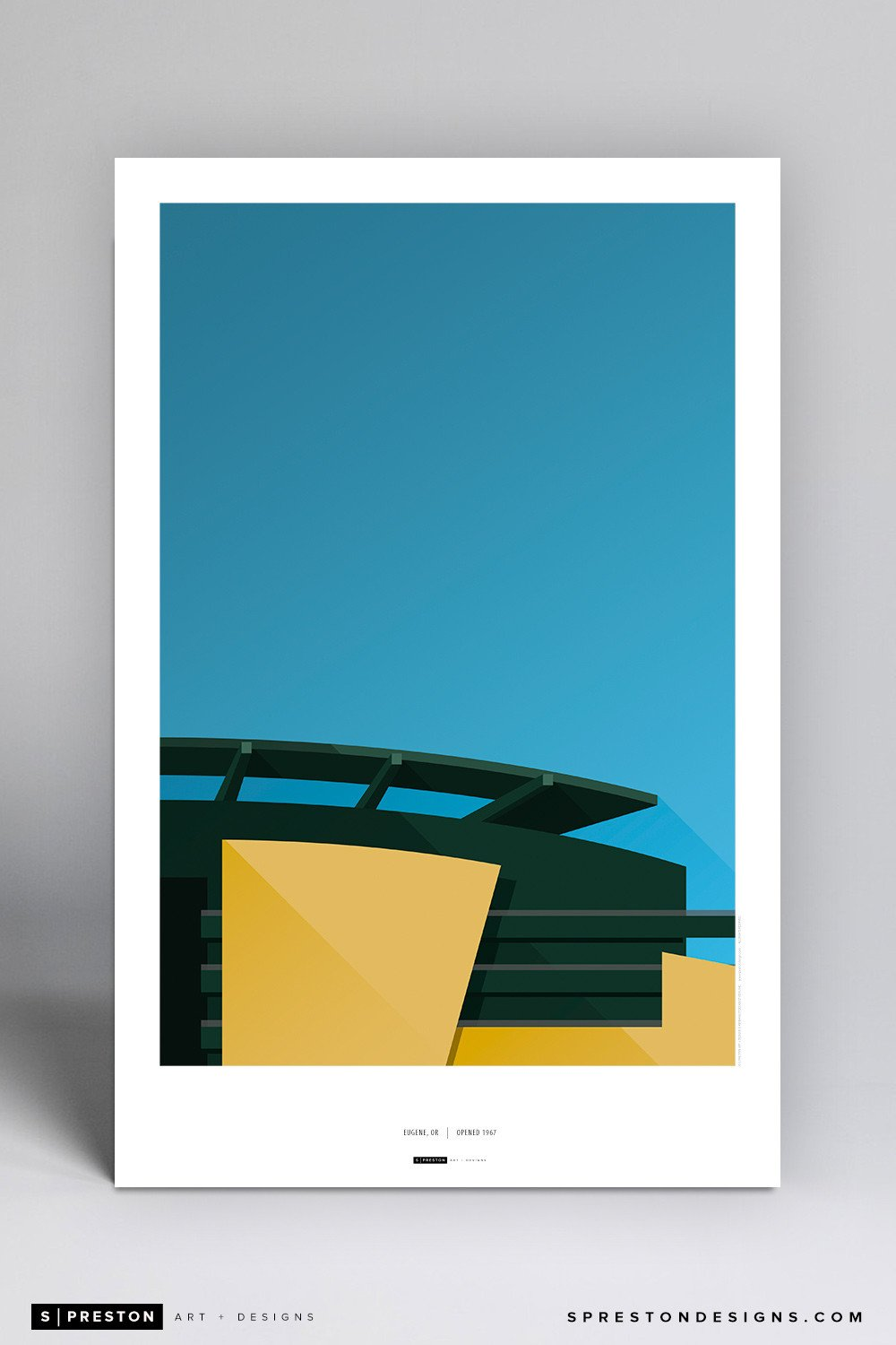Minimalist Autzen Stadium Poster Print - University of Oregon - S. Preston Art + Designs