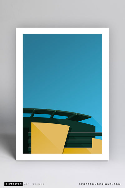 Minimalist Autzen Stadium Art Print - University of Oregon - S. Preston Art + Designs