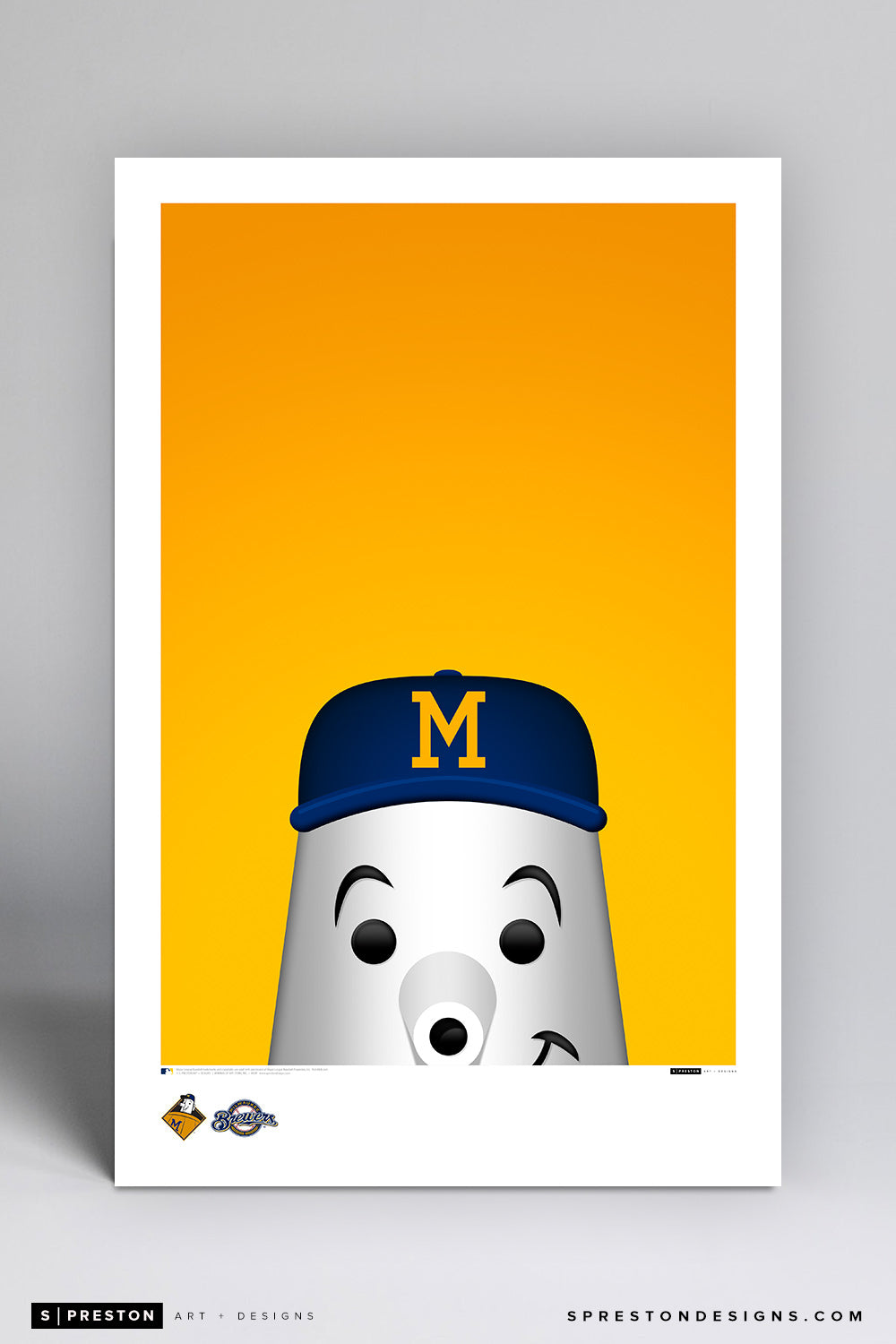 Minimalist Barrelman Poster Print Milwaukee Brewers - S Preston