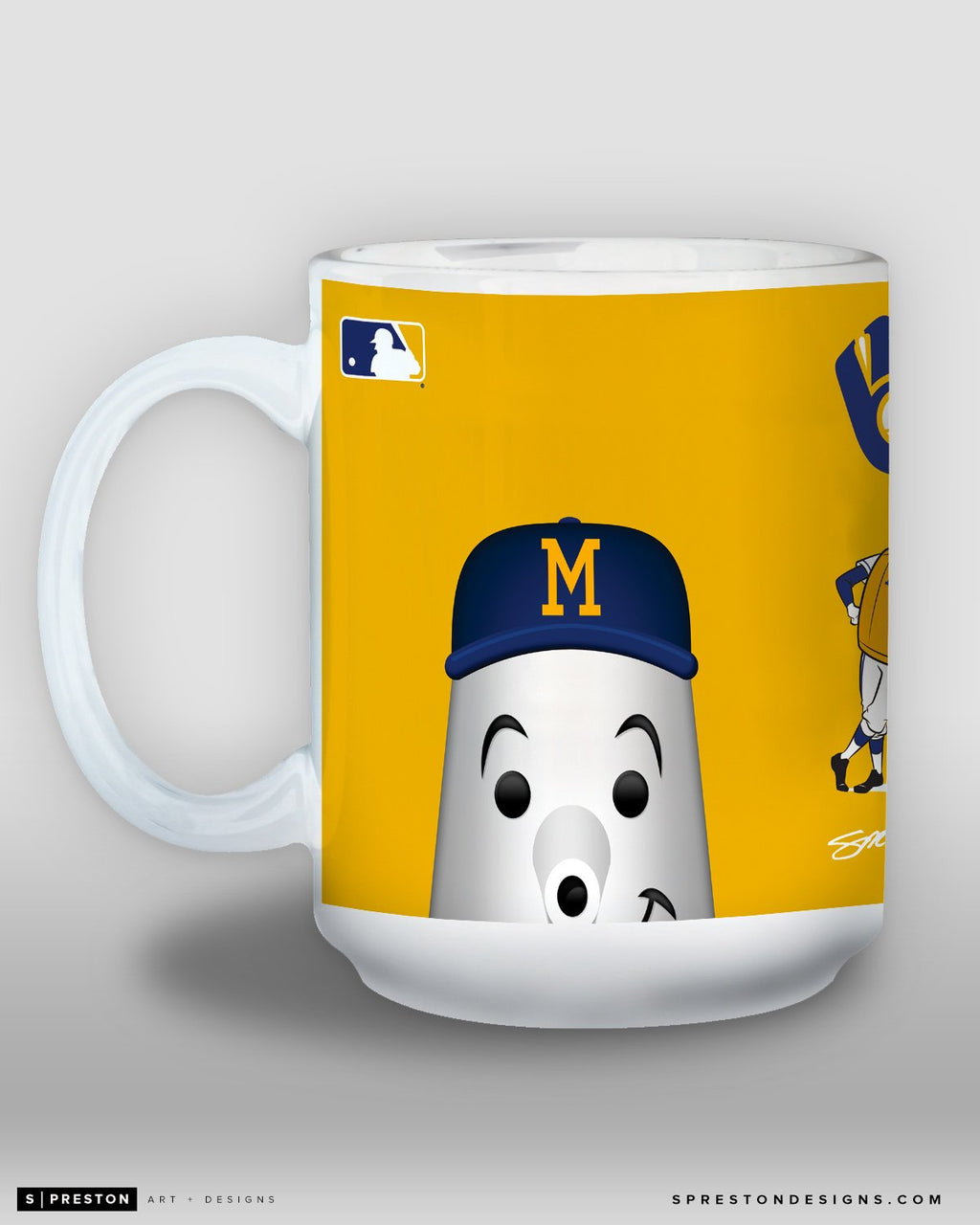 Minimalist Barrelman Coffee Mug - MLB Licensed - Milwaukee Brewers Mascot