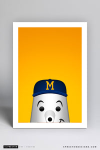 Minimalist Barrelman Art Print - Milwaukee Brewers - S. Preston Art + Designs