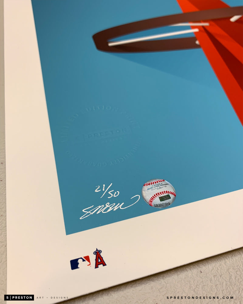 Minimalist Angel Stadium - Mike Trout Signed - MLB Authentication