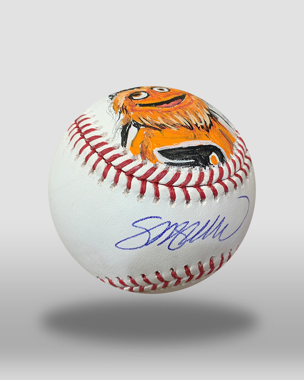 Gritty Hand-Painted Baseball Art
