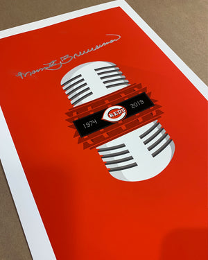 Minimalist Reds Broadcasting - Marty Brennaman Signed