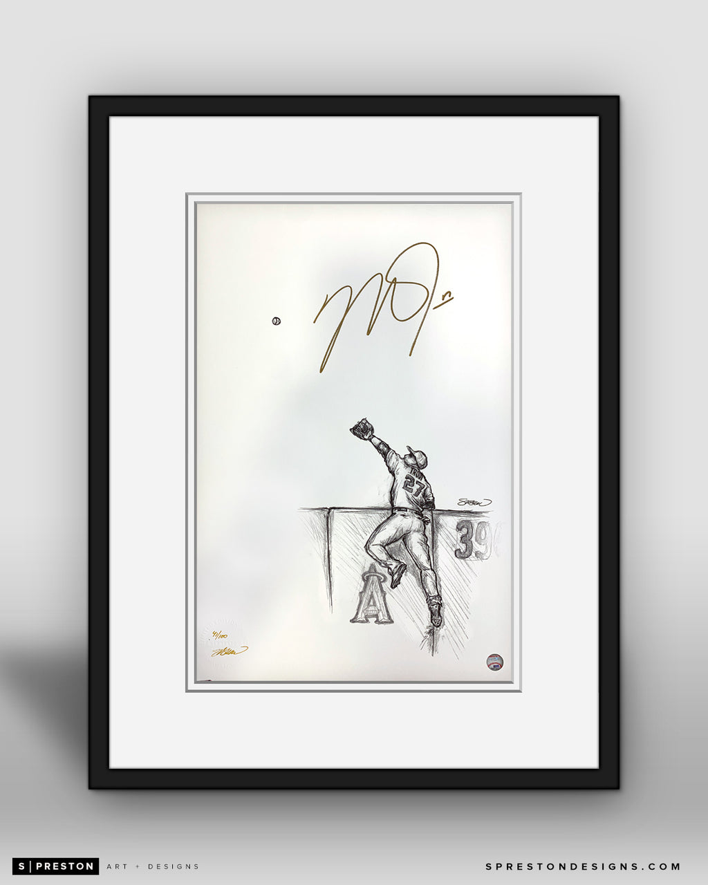 Reeling In - Mike Trout Autographed - Framed Print