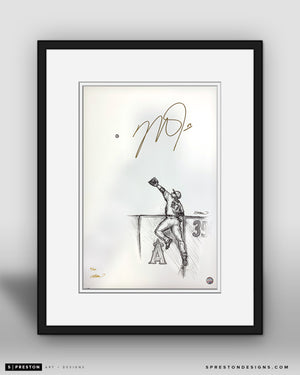 Reeling In - Mike Trout Autographed - Framed Print - MLB Authenticated