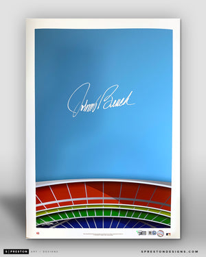 Minimalist Riverfront Stadium - Johnny Bench Signed - Authenticated