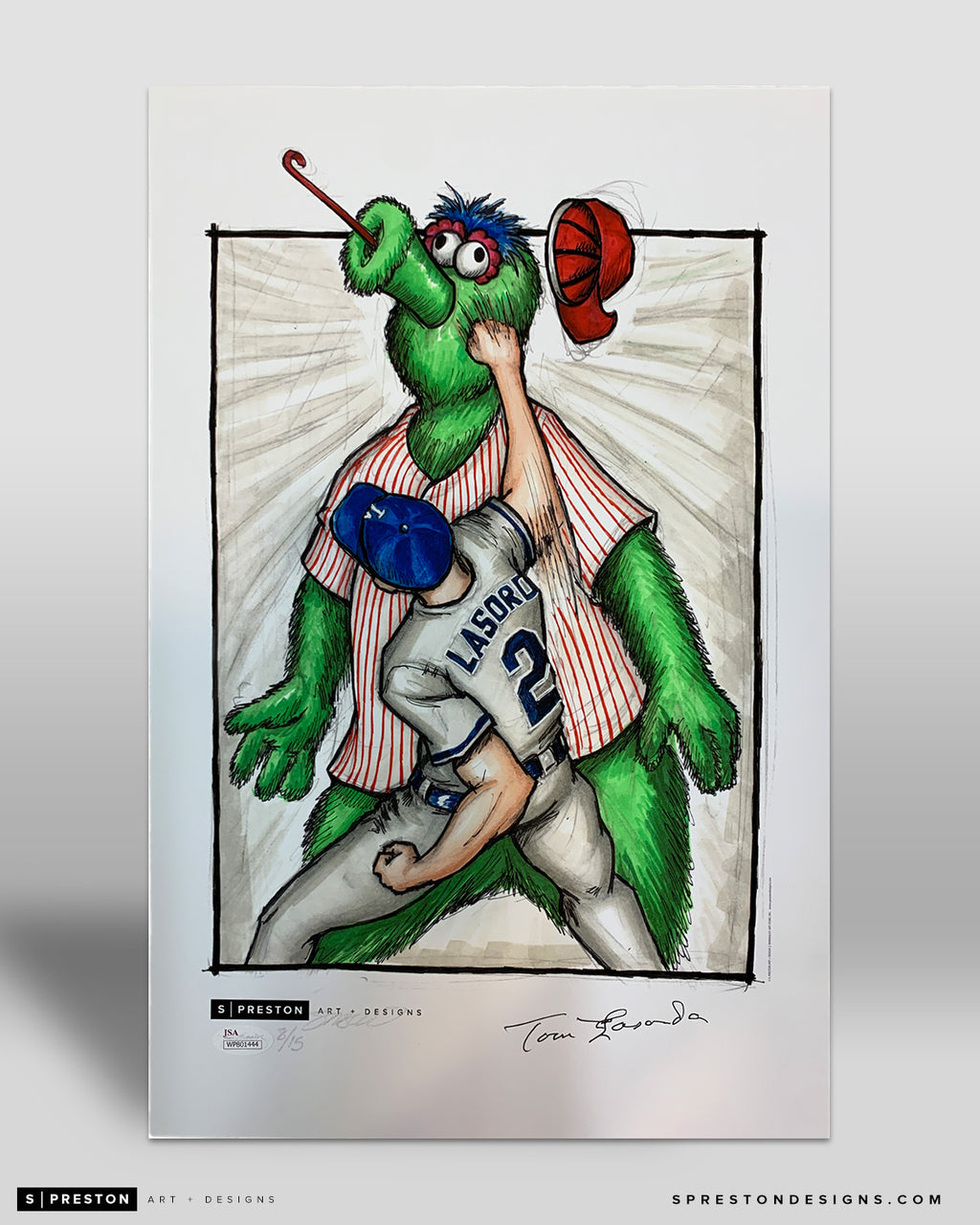 Super LaSorda Punchout Sketch Poster Print - Autographed - JSA Authentication