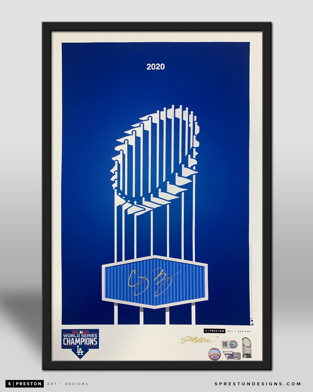 Minimalist World Series 2020 Poster Print - Corey Seager Signed - MLB Authenticated