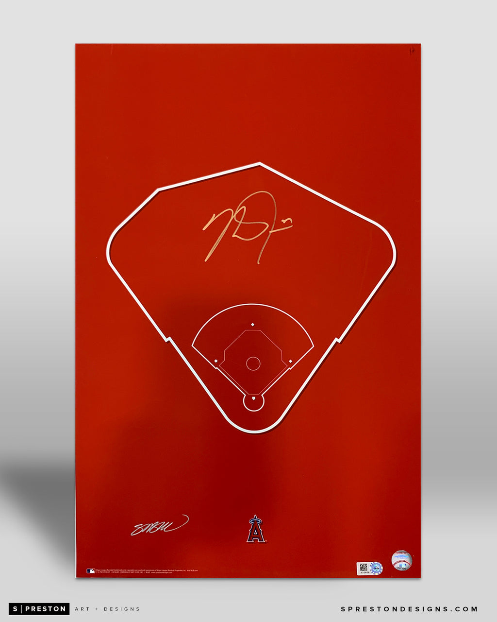 Outline Angel Stadium - Mike Trout Signed - MLB Authenticated