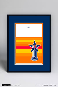 Minimalist World Series 2017 Art Print - Houston Astros - S. Preston Art + Designs