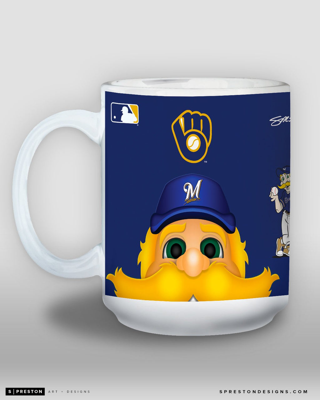 Minimalist Bernie Brewer Coffee Mug - MLB Licensed - Milwaukee Brewers Mascot