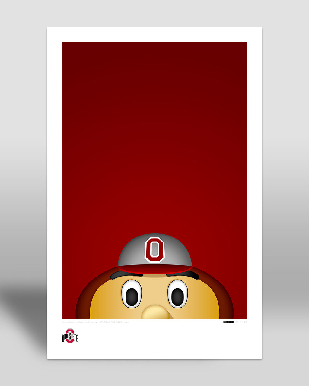 Minimalist Brutus Buckeye Art Poster Art Poster - Ohio State University - S. Preston Art + Designs