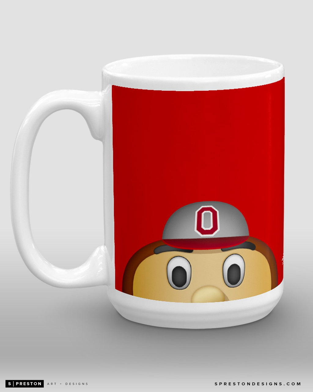 Minimalist Brutus Buckeye Coffee Mug - OSU Licensed - Ohio State University Mascot