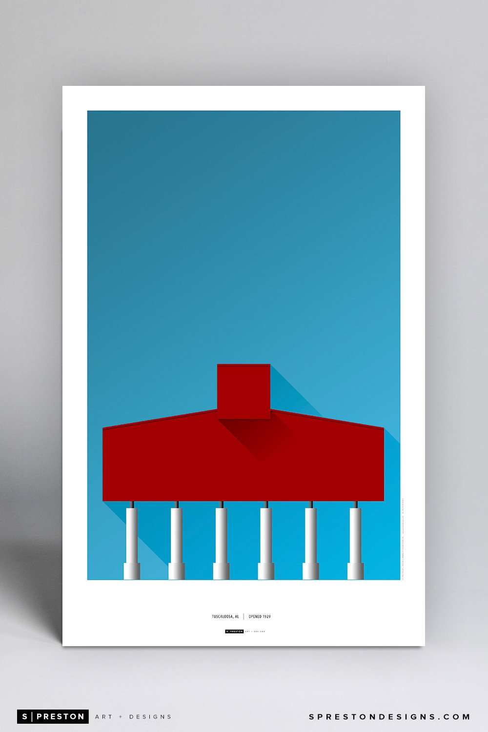Minimalist Bryant-Denny Stadium Poster Print - University of Alabama - S. Preston Art + Designs