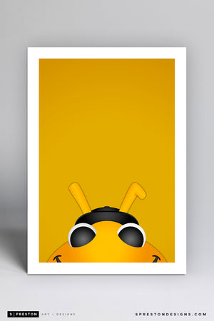 Minimalist Bumble - Salt Lake Bees Art Print - Salt Lake Bees - S. Preston Art + Designs