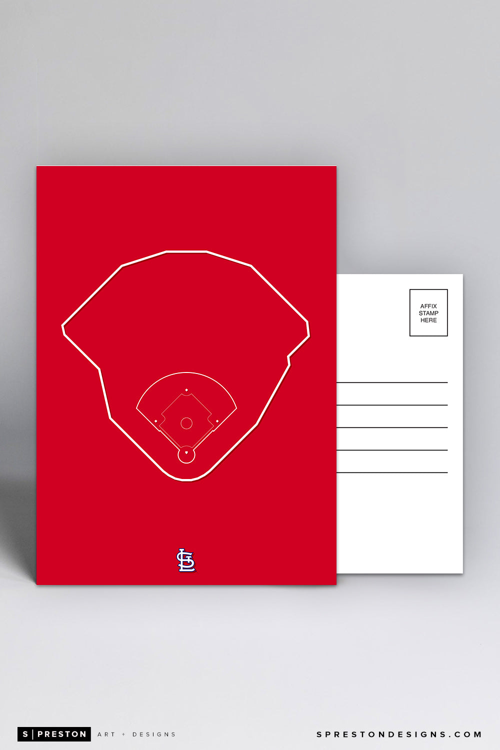 Busch Stadium - Outline Ballparks Postcard St. Louis Cardinals - S. Preston